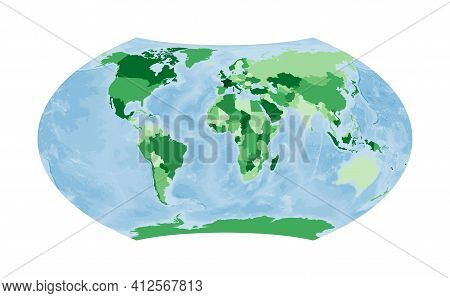 World Map. Wagner Projection. World In Green Colors With Blue Ocean. Vector Illustration.