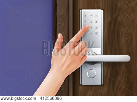 Door Knobs Handles Realistic Composition With Human Hand With Finger Touching Digital Dial Pad Of Ha