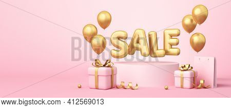 Sale Banner On Pink Background. Sale Word, Balloons, Shopping Bag, Gift Boxes, Golden Ribbon Element