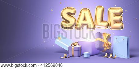 3d Rendering Of Promotion Sale With Gifts, Shopping Bag And Credit Card On Purple Background. 3d Ren