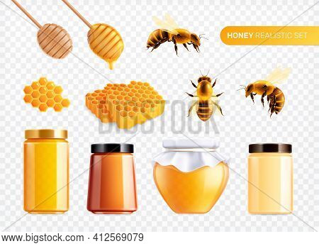 Honey Realistic Set With Isolated Images Of Bees With Combs And Glass Cans Filled With Honey Vector