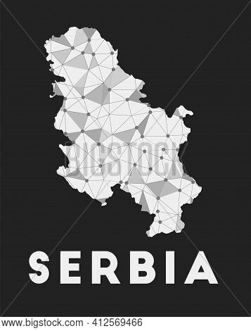 Serbia - Communication Network Map Of Country. Serbia Trendy Geometric Design On Dark Background. Te