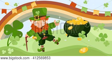 Patrick Day Leprechaun Horizontal Composition With Green Hills Landscape Rainbow Clover Leaves And D