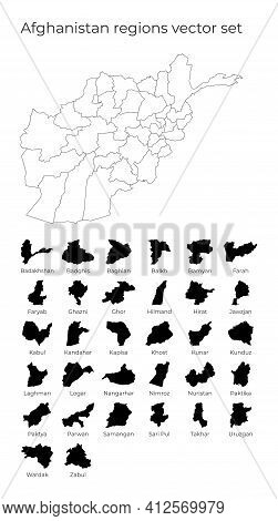 Afghanistan Map With Shapes Of Regions. Blank Vector Map Of The Country With Regions. Borders Of The