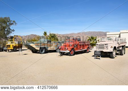 CHIRIACO SUMMIT, CA - DECEMBER 10, 2016: Military Vehicles on display at the General Patton Memorial Museum, near the site of the WWII Desert Training Center (DTC) in the California Mojave Desert.