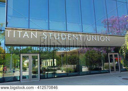 FULLERTON CALIFORNIA - 22 MAY 2020: Closeup of the Titan Student Union on the campus of California State University Fullerton, CSUF.