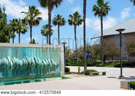 FULLERTON CALIFORNIA - 23 MAY 2020: Water Wall Sculpture on the Visual Arts Building on the campus of California State University Fullerton, CSUF.