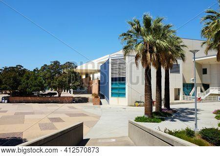 FULLERTON CALIFORNIA - 22 MAY 2020: Titan Gym seen fron the Titan Shops on the campus of California State University Fullerton, CSUF.