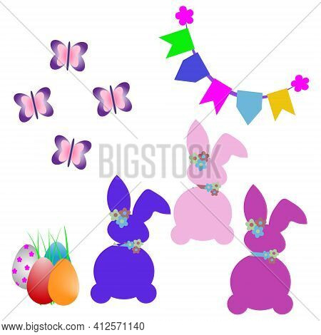 Creative Minimal Happy Easter Design The Rabbit Pink,rabbit Blu,  Inside Of Home Line With Colorful