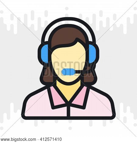 Technical Support, Customer Support Or Telephone Operator Icon. Call Center Concept. Woman In Headse