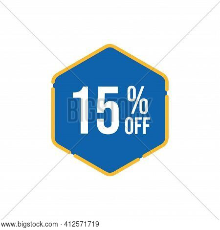 15% Sale Tag Vector Badge Template, 15% Sale Label Collection, Clearance Sale Sticker Emblem, Bargai