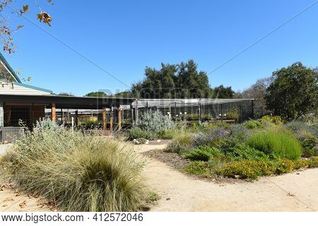 FULLERTON, CALIFORNIA - FEBRUARY 7, 2017: Fullerton Arboretum Potting Shed. The area features a Garden Shop that offers a wide variety of garden products and garden related items.