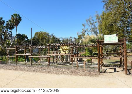 FULLERTON, CALIFORNIA - FEBRUARY 7, 2017: Fullerton Arboretum Childrens Garden. Dedicated to kids it is the place to touch, listen, look, smell and play.