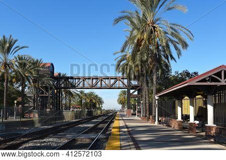 FULLERTON, CALIFORNIA - 24 JAN 2020: Tracks and Platform at the Fullerton train Station in the downton area town.