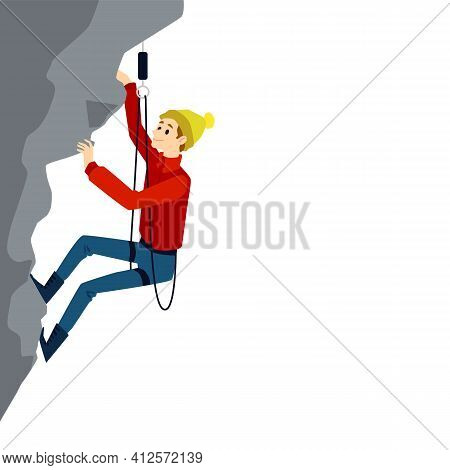 Cartoon Mountain Climbing Man With Equipment Mid Climb On A Grey Cliff Rock.