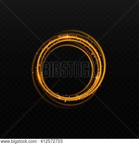 Golden Light Circle With Shiny Glow Isolated On Black Background, Shiny Gold Ring