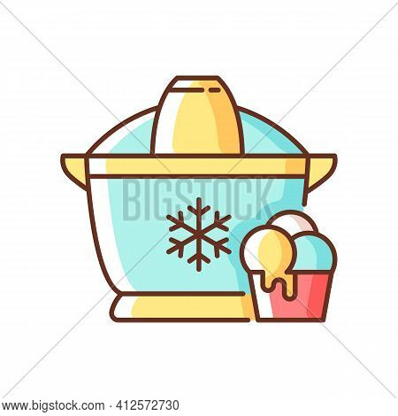 Ice Cream Maker Rgb Color Icon. Freezer Gadget. Electrical Utensil For Home Treat Preparation. Icecr