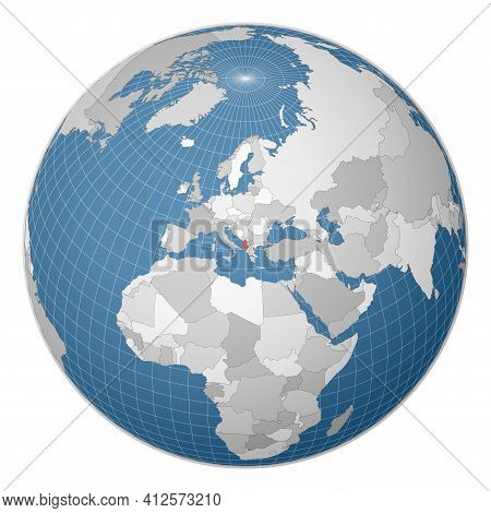 Globe Centered To Albania. Country Highlighted With Green Color On World Map. Satellite World Projec
