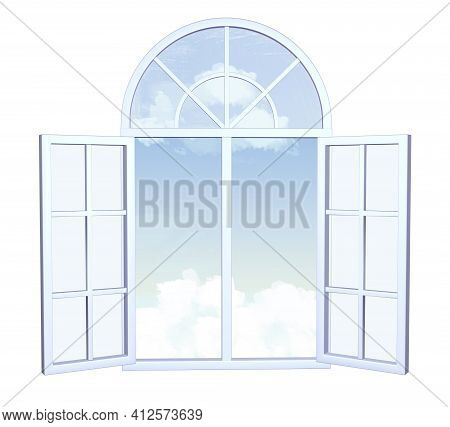 Wide Open Window With Sky And Clouds Outside The Window, Symbolizing The Wide Possibilities. 3d Imag