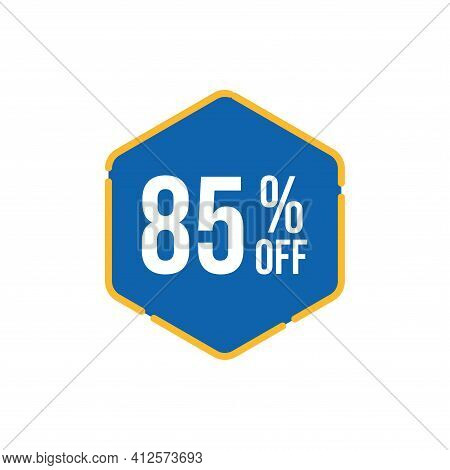 85% Sale Tag Vector Badge Template, 85% Sale Label Collection, Clearance Sale Sticker Emblem, Bargai