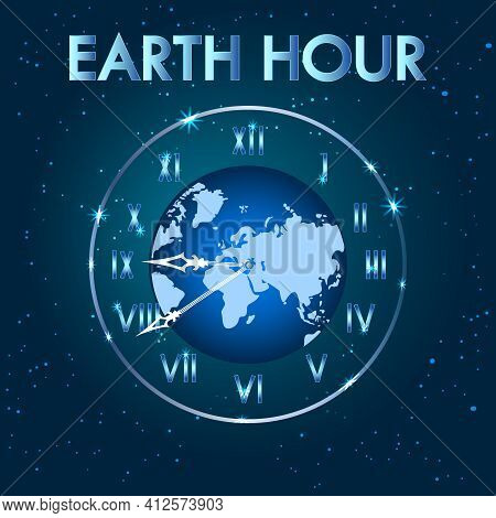 Earth Hour. Earth Planet Clock. Earth Globe With Clock. Save Our Planet Concept. Switch Off The Ligh