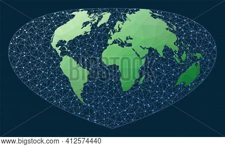 Network Map Of The World. Bottomley Projection. Green Low Poly World Map With Network Background. Co