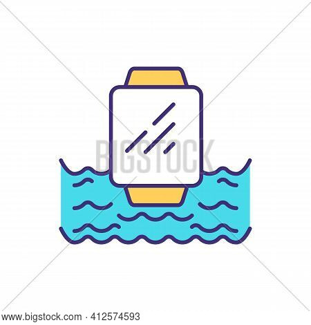 Water-resistant Smartwatch Rgb Color Icon. Submerging In Water. Pool Swimming Sessions. Working In R