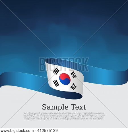 South Korea Flag On A Blue White Background. Vector Brochure Design. Cover For Business Booklet. Wav