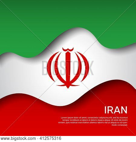Abstract Waving Iran Flag. Iranian State Patriotic Banner, Flyer. Card Design. Business Booklet. Pap