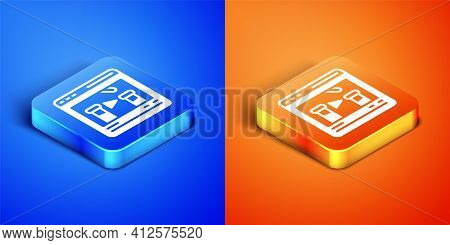 Isometric Chemical Experiment Online Icon Isolated On Blue And Orange Background. Scientific Experim