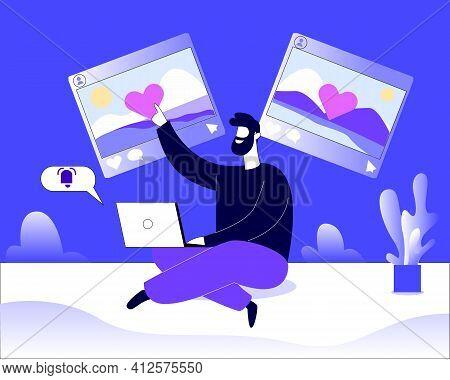 Man Browsing Social Media Illustration Concept Vector