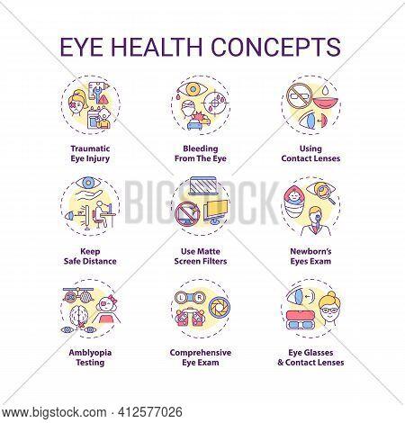 Eye Health Concept Icons Set. Traumatic Eye Injury. Bleeding From Body Organs. Use Matte Screen Filt
