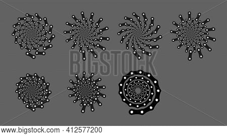 Set Of Spiral Motion Elements, Black Isolated Objects, Different Brush Texture, Chain, Bicycle, Vect