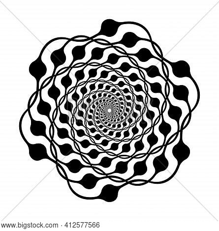 Spiral Motion Elements, Black Isolated Objects, Different Brush Texture, Vector Illustrations