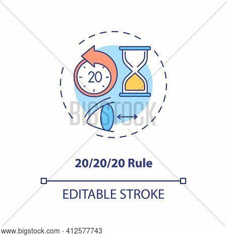Use 20 20 20 Rule Concept Icon. Digital Eyestrain Prevention Tips. Ways To Prevent Eye Strain Idea T