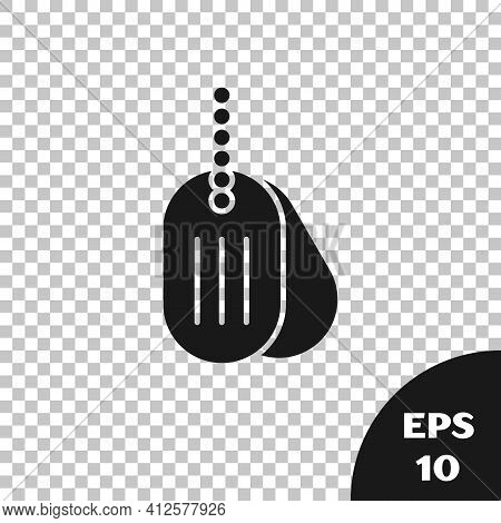 Black Military Dog Tag Icon Isolated On Transparent Background. Identity Tag Icon. Army Sign. Vector