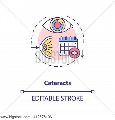 Cataracts Concept Icon. Adults Eyes Diseases. Cloudy Area In Lens Of Eye That Leads To A Decrease In