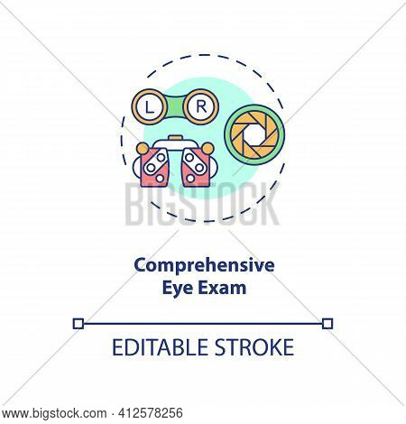 Comprehensive Eye Exam Concept Icon. Eye Health Tips. Measurements How Clearly Each Eye Is Seeing Id