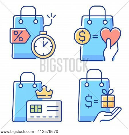 Special Gift And Reward Buyers Chalk White Icons Set On Black Background. Charity And Loyalty Progra