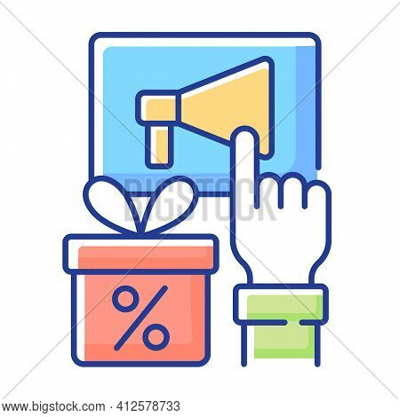 Sharing Post To Get Discount Rgb Color Icon. Likes. Obtaining Discount For Activities In Social Netw