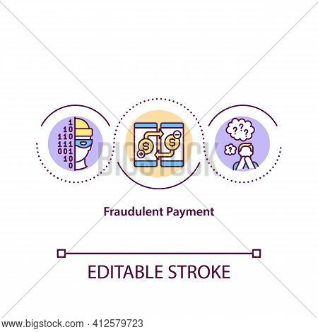 Fraudulent Payments Concept Icon. False And Illegal Transaction Idea Thin Line Illustration. Cybercr