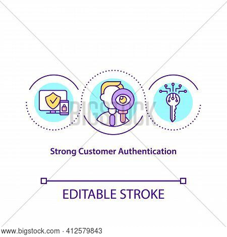 Strong Customer Authentication Concept Icon. Electronic Payments Idea Thin Line Illustration. Multi-