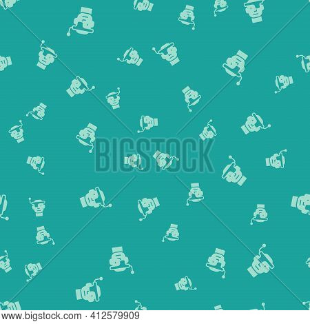 Green Smart Glasses Mounted On Spectacles Icon Isolated Seamless Pattern On Green Background. Wearab