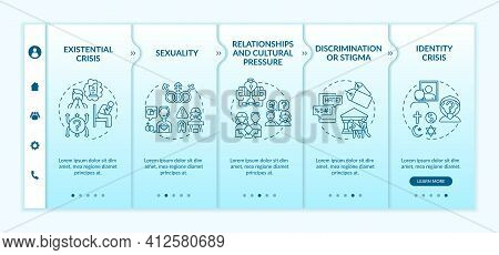 Religious Issues Onboarding Vector Template. Existential Crisis. Sexual Orientation. Discrimination,