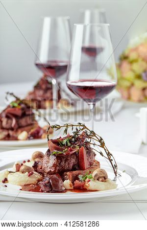 Gourmet Appetizer: Beautifully Decorated Catering Banquet Foie Gras With Berries