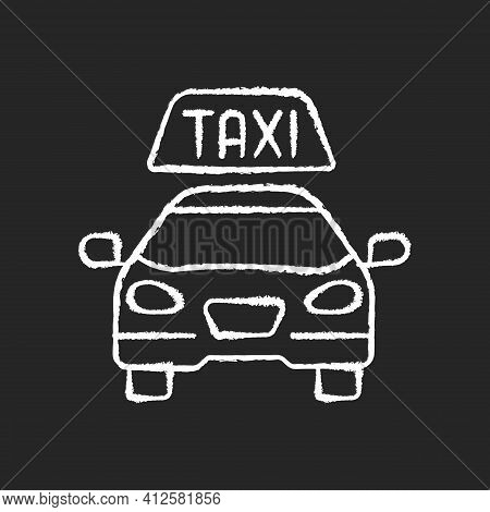 Taxis Chalk White Icon On Black Background. Modern Taxi. Transportation Services. Convenient And Fas