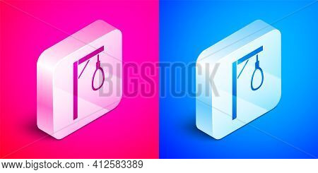 Isometric Gallows Rope Loop Hanging Icon Isolated On Pink And Blue Background. Rope Tied Into Noose.