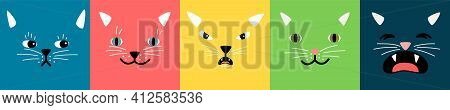 Abstract Faces. Cats Square Emotional Face, Kitty Emoticons. Bright Diverse Cartoon Doodle Pets Muzz