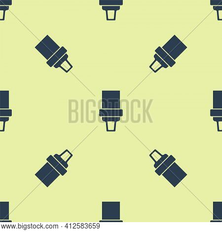 Blue Safety Belt Icon Isolated Seamless Pattern On Yellow Background. Seat Belt. Vector