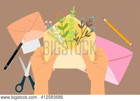 Hand Holding Envelope. Handmade, Postcrossing Concept. Hands With Letter, Happy Friendly Mail With F